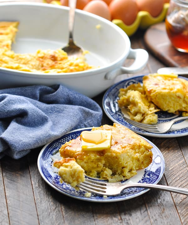Williamsburg spoon bread recipe on plates