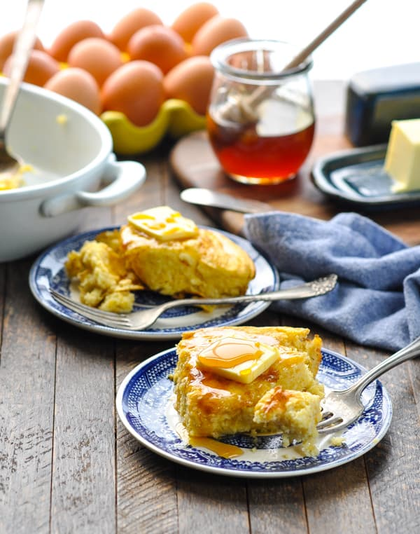 Pieces of easy homemade spoon bread on plates