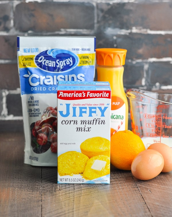 Ingredients such as Jiffy Corn Muffin Mix for Orange Cranberry Muffins