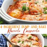 Long collage image of baked Ravioli Casserole