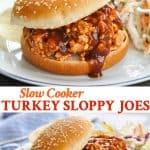 Long vertical collage of Slow Cooker Turkey Sloppy Joes