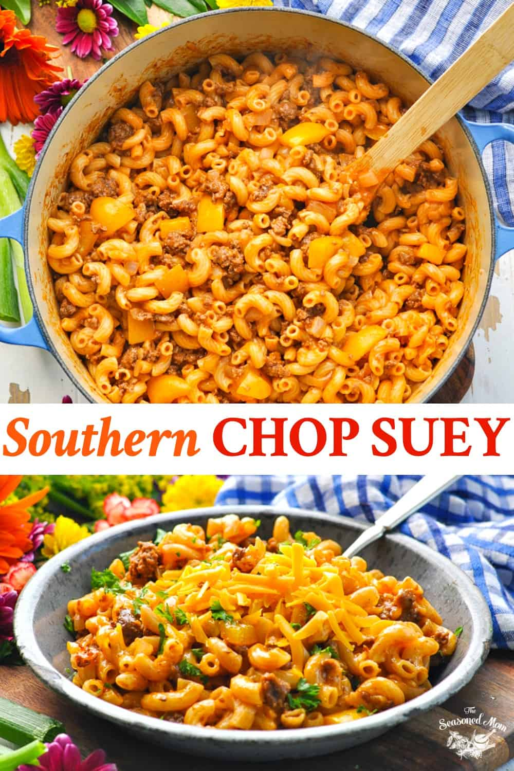 Long collage image of Southern Chop Suey