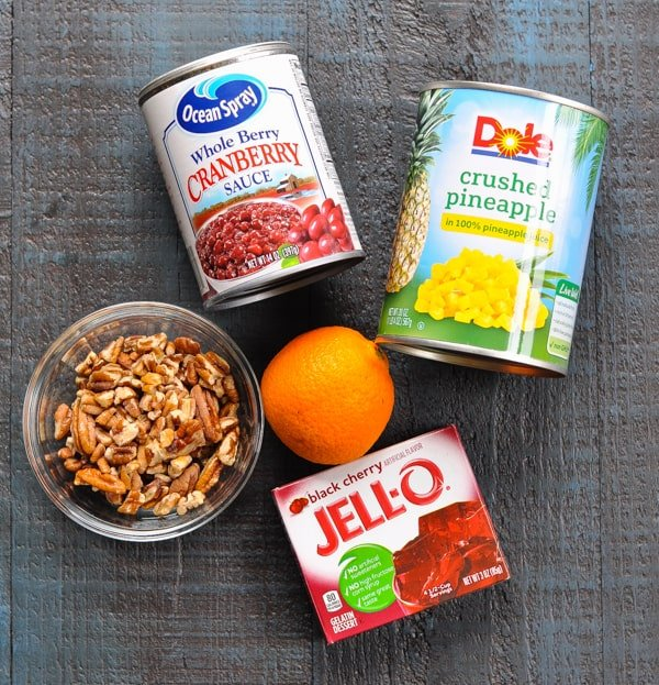 5 ingredients for cranberry salad with jello and pecans