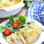 Dump and Bake Swiss Chicken with 5 ingredients on a plate with text overlay