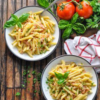 Penne with Prosciutto Parmesan Cream Sauce