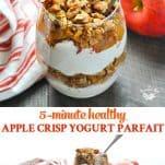 Long collage image of healthy yogurt parfait