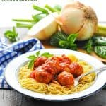 Bowl of spaghetti with turkey meatballs and text overlay