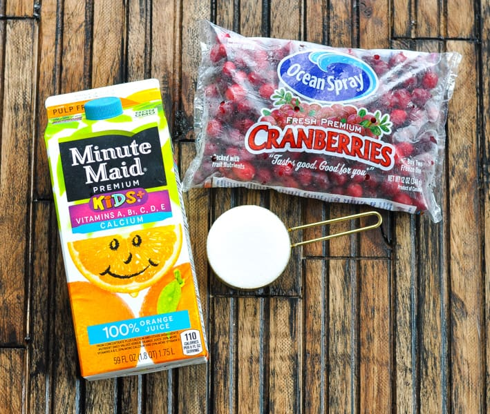 Cranberry sauce with orange juice ingredients
