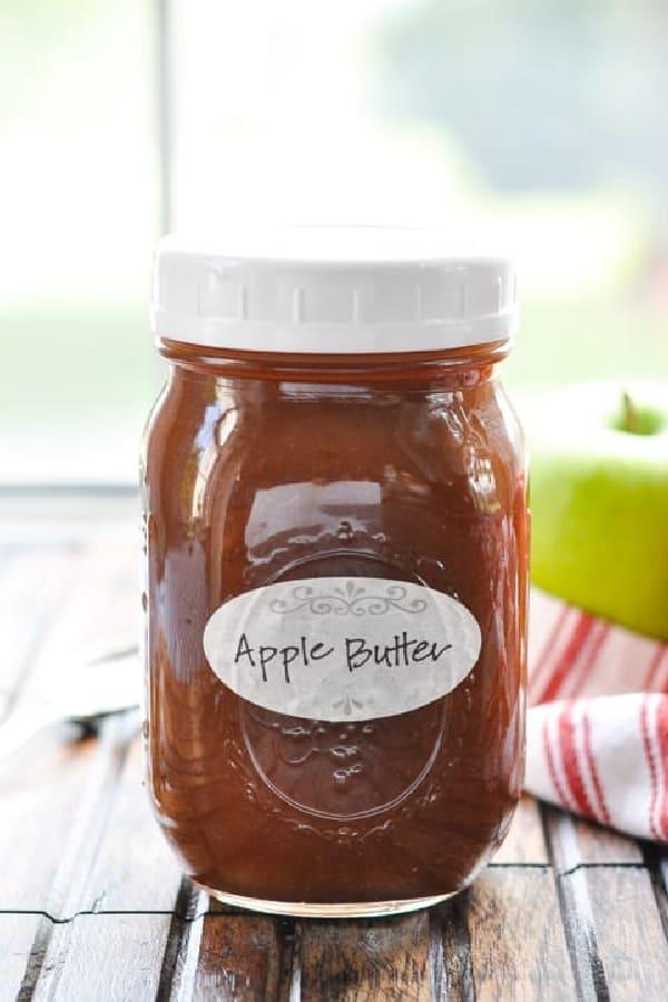 Front shot of a jar of homemade apple butter