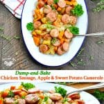 Long vertical collage of baked chicken sausage apples and sweet potatoes recipe