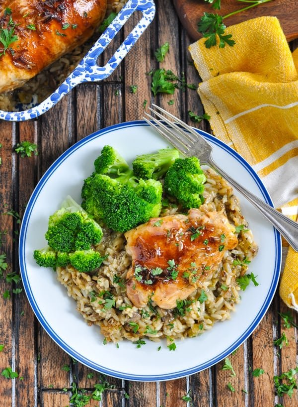 Overhead image of plate of chicken wild rice casserole with broccoli on the side