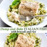 Long collage of Italian Fish Recipe with Broccoli and Rice