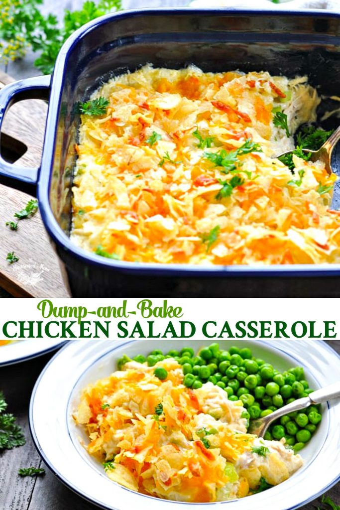 Long collage of Dump and Bake Southern Chicken Salad Casserole