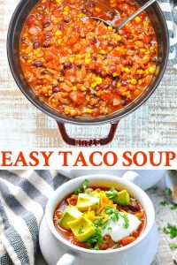 Long collage image of easy taco soup