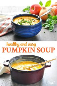 Long collage image of easy pumpkin soup recipe