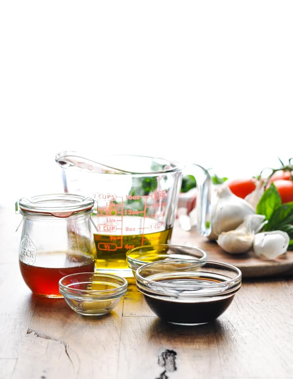 Ingredients for honey balsamic vinaigrette