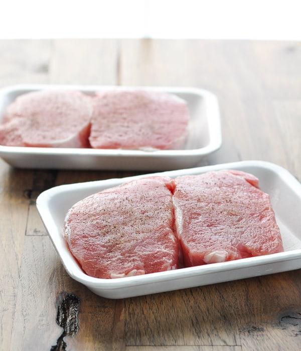 Uncooked boneless pork chops