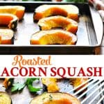 Long collage of roasted acorn squash