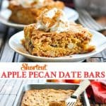 Long vertical collage of apple pecan date bars