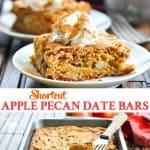 Long vertical collage of apple pecan date bars