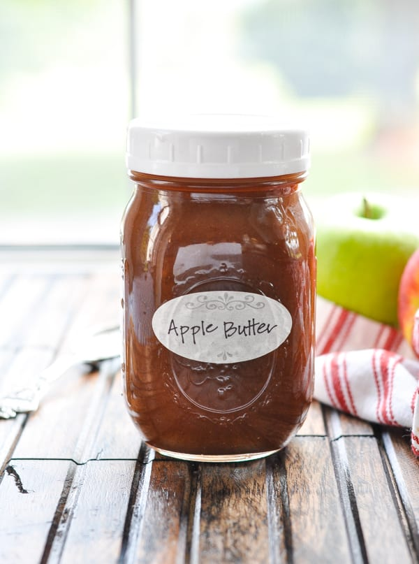 Jar of slow cooker apple butter with label on it