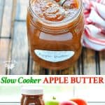 Long collage of slow cooker apple butter