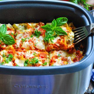 Turkey and Pesto Slow Cooker Lasagna