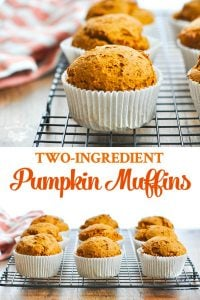 Long collage image of cake mix two ingredient healthy pumpkin muffins