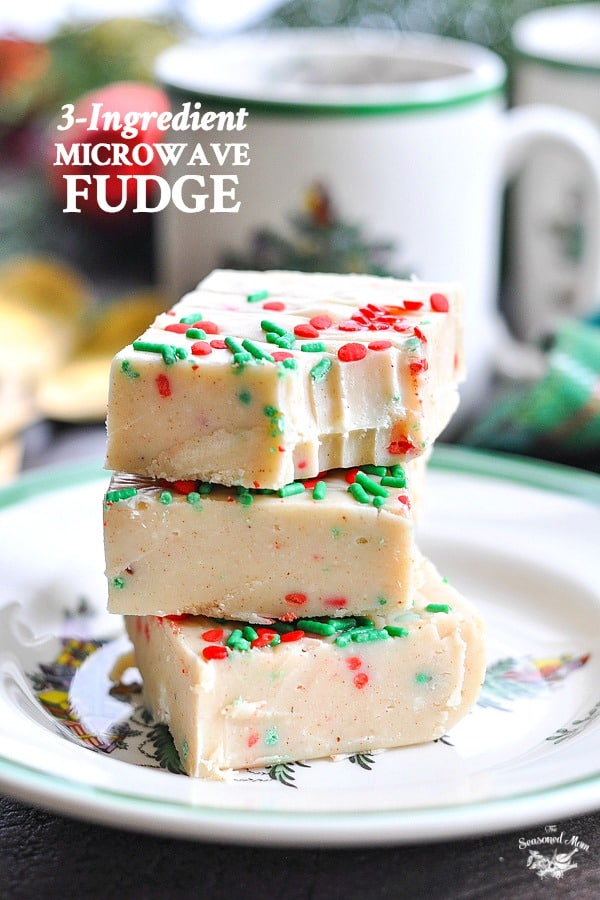 Stack of microwave fudge on a plate with text overlay