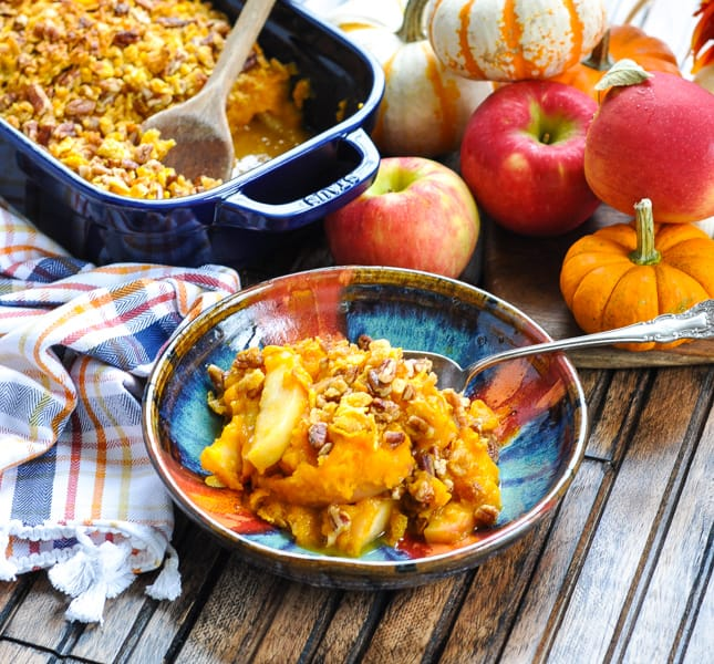 Bowl of apple and roasted butternut squash casserole