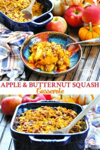 Long collage image of Apple and Butternut Squash Casserole