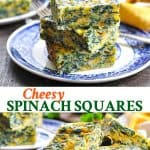 Long collage of easy Cheesy Spinach Squares appetizer