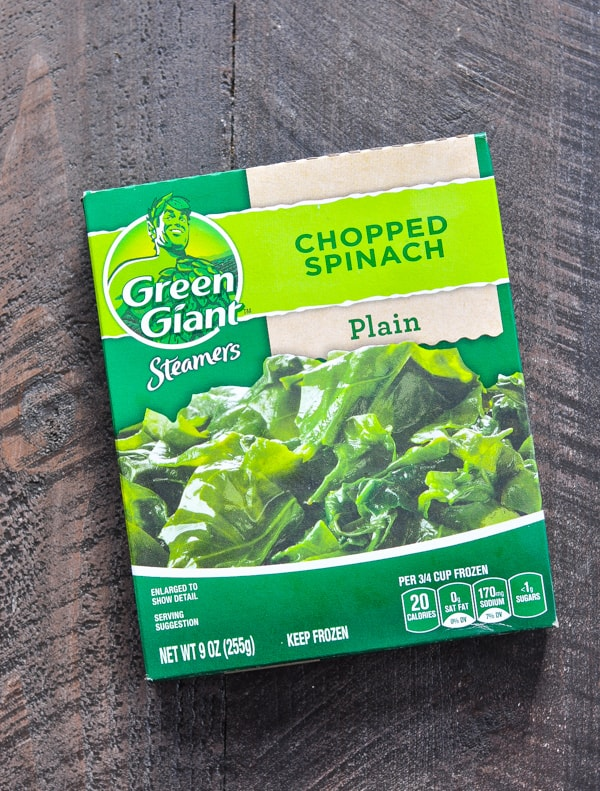 Box of frozen chopped spinach