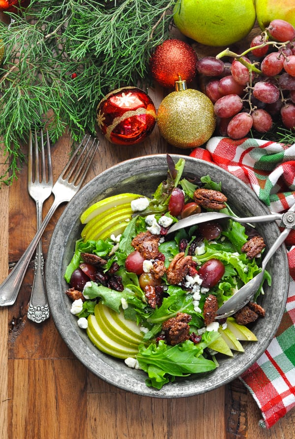Overhead image of Christmas Salad with Champagne Vinaigrette in a silver bowl