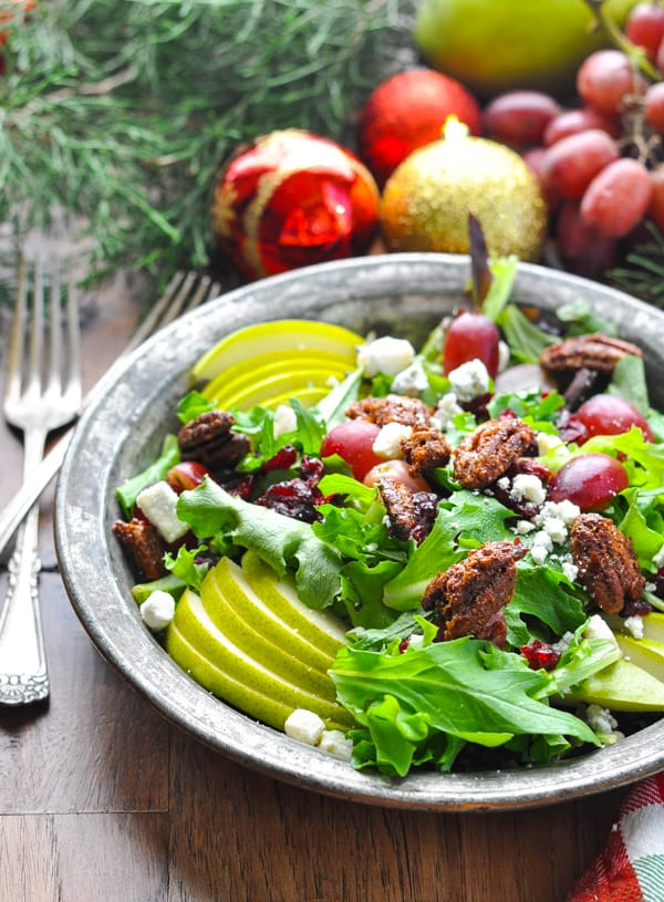 Bowl of christmas salad with pomegranate seeds