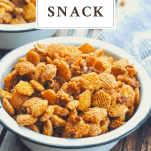 Crack snack Chex Mix with a text title overlay