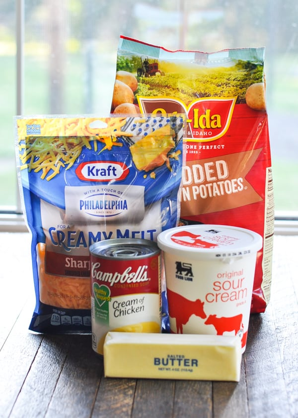Ingredients for hash brown casserole with sour cream and cheese