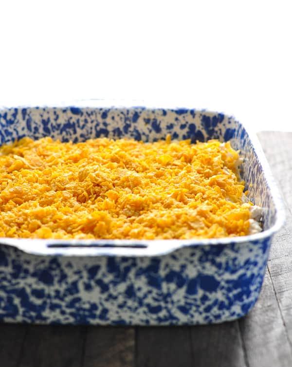Hash brown breakfast casserole prepared to go in oven
