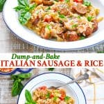 Long collage of Dump and Bake Italian Sausage with Rice