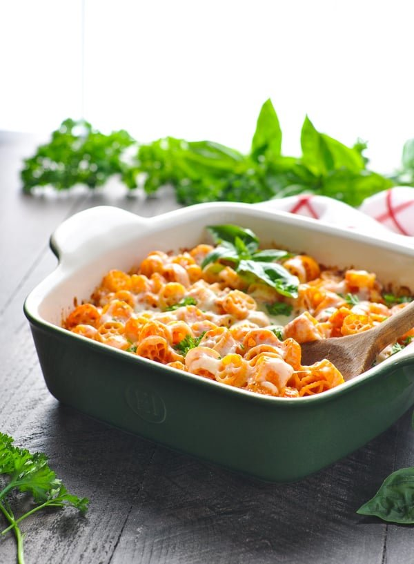 Wagon wheel pasta casserole with fresh herbs