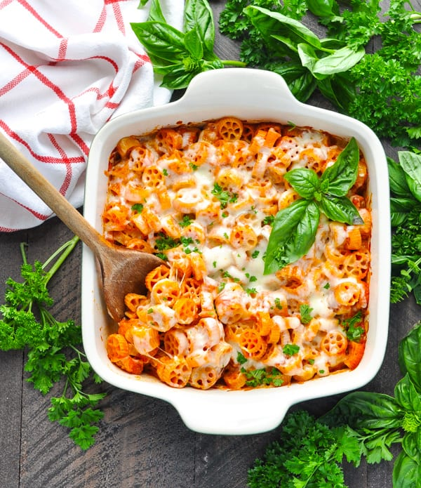 Overhead image of healthy pasta casserole in a baking dish
