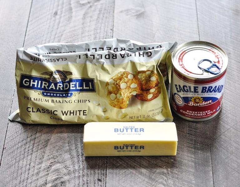 3 ingredients for microwave fudge condensed milk