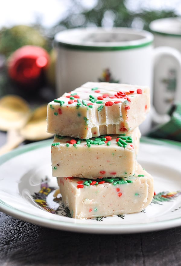 Close up image of microwave fudge on a plate made with condensed milk