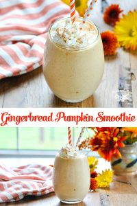 Long collage image of Gingerbread Pumpkin Smoothie recipe