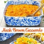 Long vertical collage of easy hash brown breakfast casserole