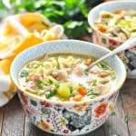 Bowl of turkey noodle soup with text overlay