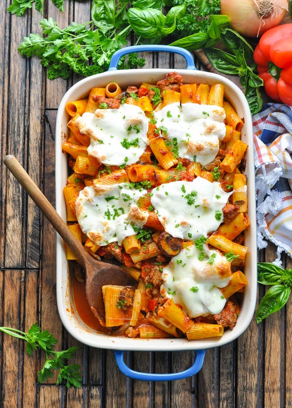 Overhead image of Italian Sausage Pasta Bake in a blue casserole dish