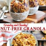 Long collage of the best nut free granola recipe