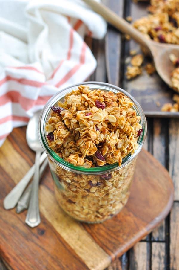 Overhead image of jar of nut free granola