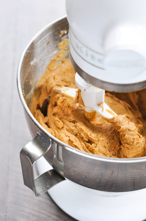 Old Fashioned Molasses Coookie dough in mixer bowl